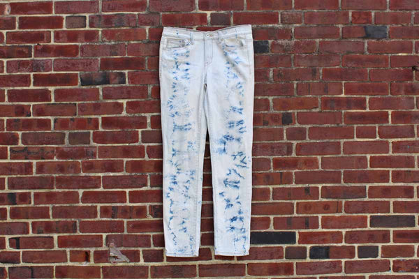 Calvin Klein (New York, USA) Batik-Style Blue and White Cotton Jeans, Size 8