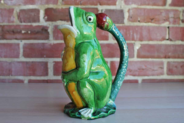 Ceramic Frog-Shaped Handled Pitcher