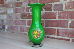 Blown Glass Green and White Vase with Colorful Flower on Front
