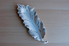 Glossy White and Gold Studio Pottery Leaf Dish