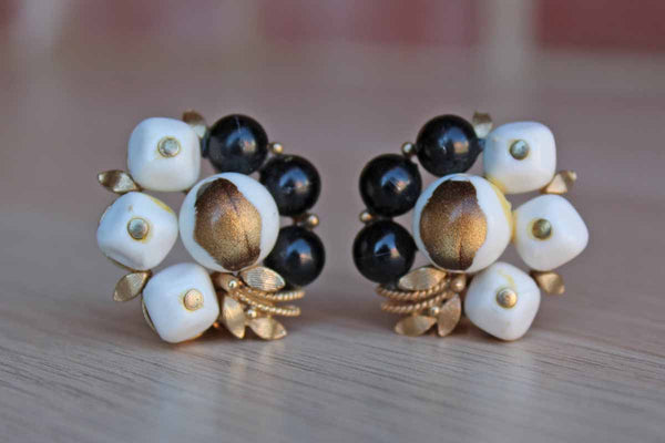 Black and White Plastic Bead Cluster Non-Pierced Earrings with Gold Leaf Accents
