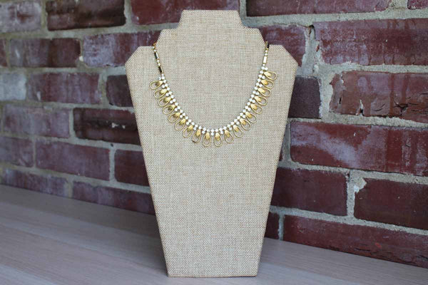Sarah Coventry Gold Tone and Silver Rhinestone Necklace