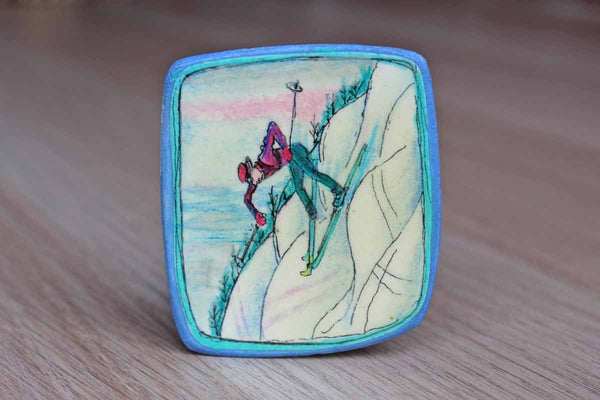 Painted Wood Pin Decorated with A Downhill Skier