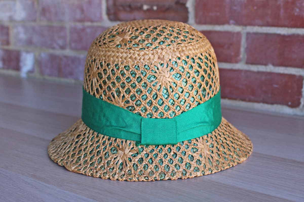 Soprattutto Cappelli (Italy) 100% Straw Hat with Green Grosgrain Ribbon Band
