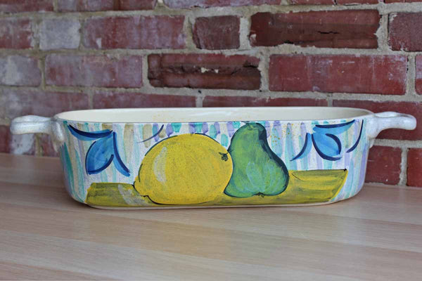 Long Ceramic Open Storage Vessel with Colorfully Painted Fruit, Made in Italy