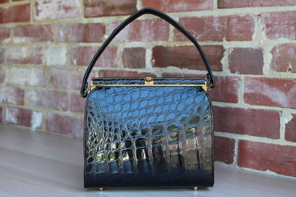 Black Alligator Hard Frame Purse