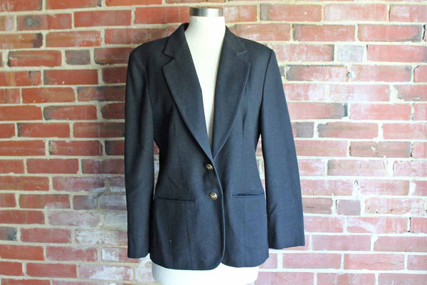Pendleton Woolen Mills (Oregon, USA) Black Wool Blazer, Size 8