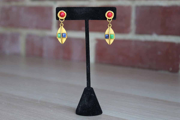 Gold Tone Pierced Drop Earrings with Multi-Colored Stones