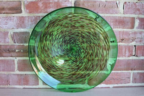 Handmade Green Art Glass Dish with Brown and Light Green Swirl Design