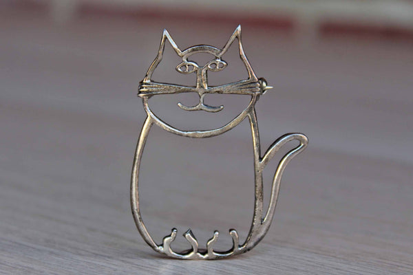 Silver Tone Outline of a Cat Brooch