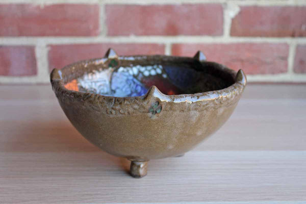 Handmade Earthenware Footed Bowl with Rich Colorful Shapes and Textures