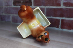 A.L. Hirsch Pottery Ceramic Dachshund Matching Dresser Caddies, A Pair
