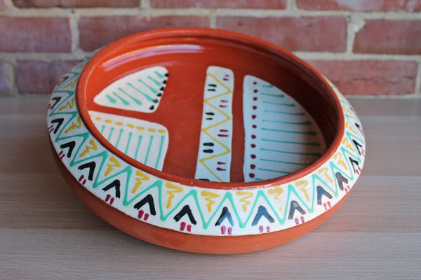 Handmade Shallow Bowl with Southwestern-Style Painted Decorations