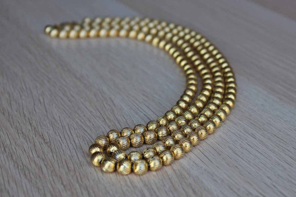 Gold Tone Beaded Double Strand Necklace with Wide Fold Over Clasp