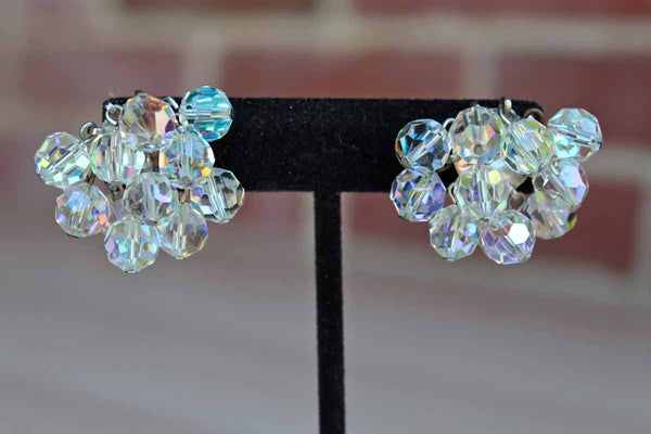 Aurora Borealis Beaded Cluster Non-Pierced Earrings