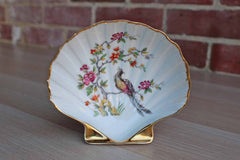 Limoges (France) Clam Shell-Shaped Dish with Hand-Painted Birds and Flowers