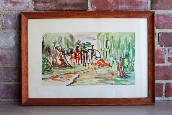 Original Landscape Watercolor Framed and Signed by Judy Edmondson, 1960