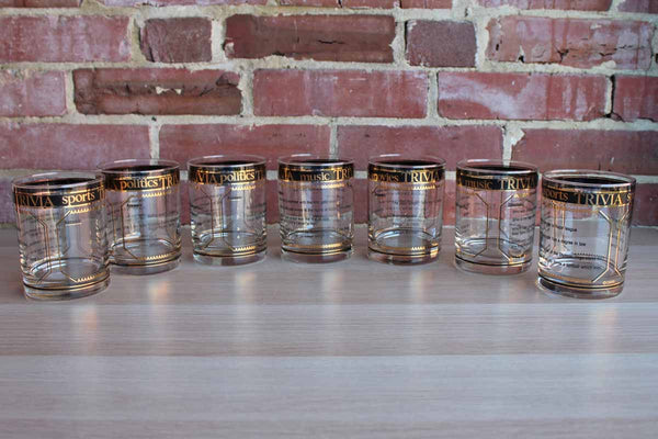 "Culver Glass Company (New York, USA) Old Fashioned Glasses with ""Trivia"" Black and Gold Decoration, 7 Pieces"