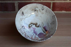 Purple and Silver Iridescent Swirl Footed Ceramic Bowl