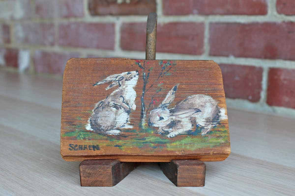 Little Wood Block Painted with Two Rabbits