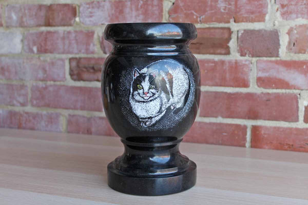 Heavy Black Marble Container with Stenciled Cat Decoration