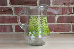 Glass Handled Drink Pitcher with Fern and Ginkgo Leaves Decoration