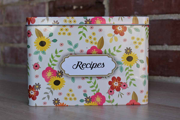 Metal Recipe Box Decorated with Colorful Flowers and with Matching Recipe Cards