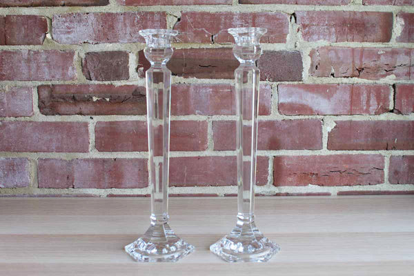 Clear Lead Crystal Tall Candlesticks, A Pair