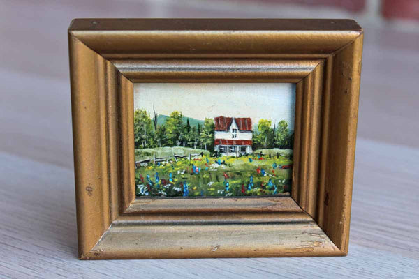 Miniature Oil Painting of a Farmhouse Landscape Scene