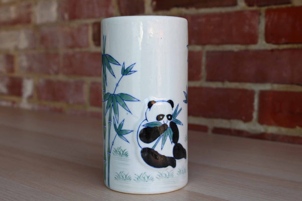 AAA Imports (China) Ceramic Cylindrical Vase Decorated with Giant Pandas Eating Bamboo