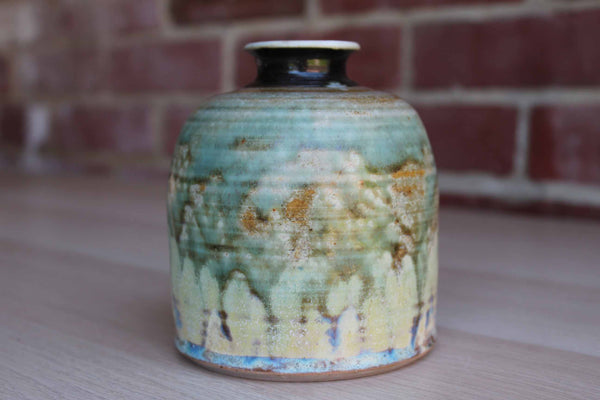 Handmade Stoneware Flower Vase with Blue, Green and Yellow Glazes