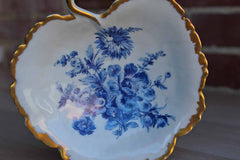 Limoges (France) Made for B. Altman & Co. Porcelain Fruit Shaped Candy or Trinket Dish with Blue Flowers and Gilded Edges