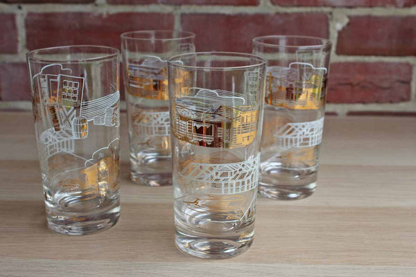Highball Glasses with House Construction Images