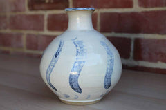 Handmade Ceramic Vase with Bulbous Shape and Blue Lined Decoration