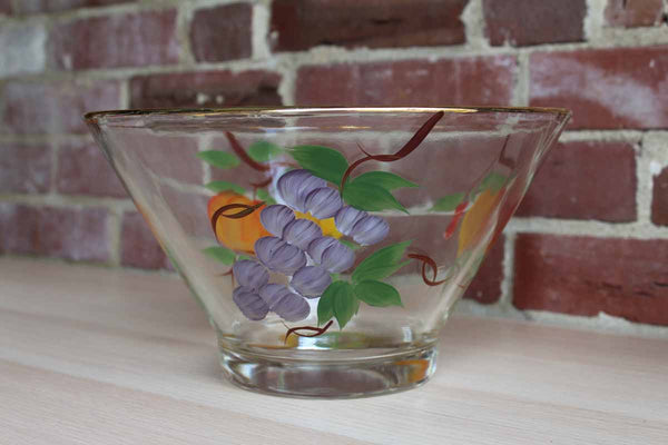 Heavy Glass Bowl Decorated with Handpainted Fruit