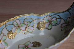 Nippon (Japan) Hand-Painted Porcelain Boat Dish with Pink, Green, and Gold Flowers