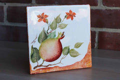 Footed Ceramic Trivet Hand-Painted with Colorful Flowering Fruit, Made in Italy