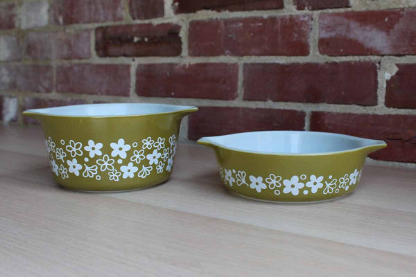 Corning Inc. (New York, USA) Pyrex Spring Blossom Green Handled Casserole Bowls (No Lids)