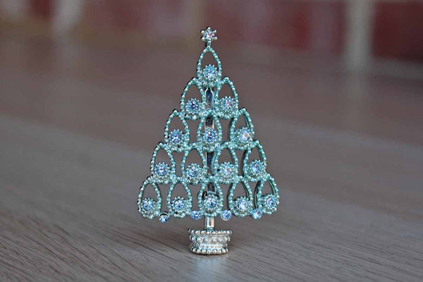 Silver Tone Christmas Tree Brooch with Blue Sparkly Rhinestones