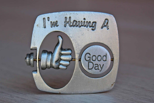 "Jonette Jewelry (Rhode Island, USA) Silver ""I'm Having a Bad/Good Day"" Brooch"
