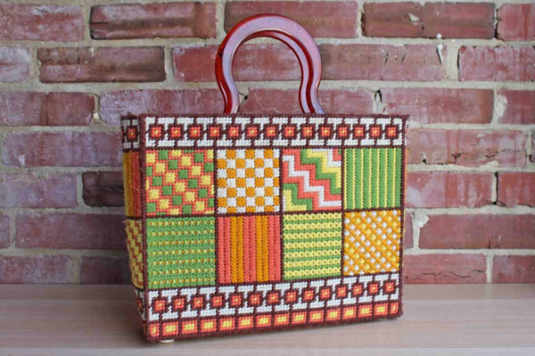 1977 Needlepoint on Plastic Canvas Tote Bag with Tortoiseshell Resin Handles