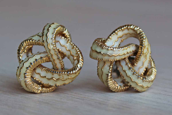 Emanuel Ciner (New York, USA) Gold Tone and Ivory Enameled Knot Non-Pierced Earrings