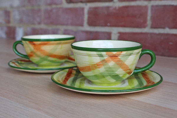 Metlox Vernonware (California, USA) Homespun Tea Cup and Saucers, A Pair