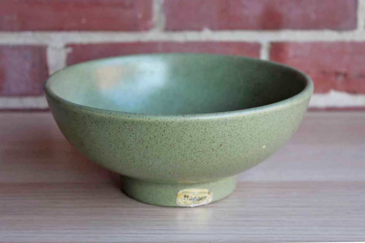 Haeger Potteries (Illinois, USA) Sage Green Speckled Glaze Footed Bowl