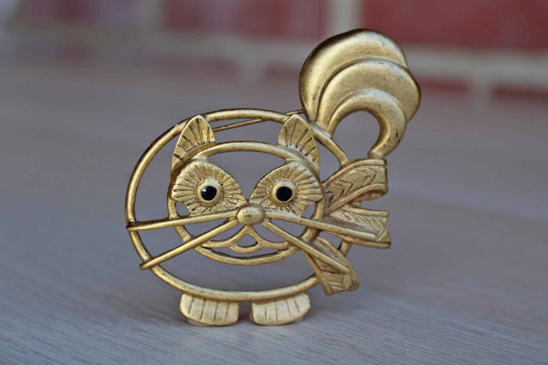 Large Gold Tone Cat-Shaped Brooch
