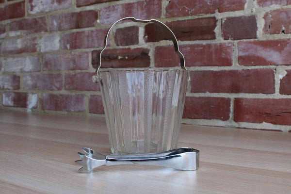 Ribbed Glass Ice Bucket with Aluminum Handle