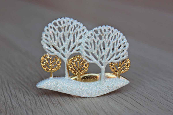 Sparkly Snowy White and Gold Trees Brooch