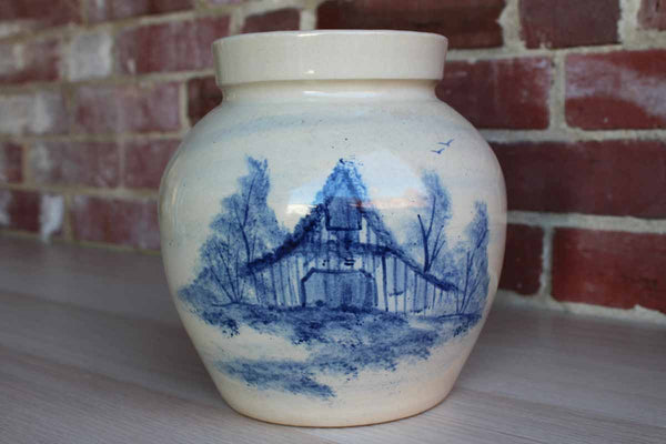 Paul Storie Pottery (Texas, USA) Stoneware Jar Decorated with a Cobalt Blue Barn