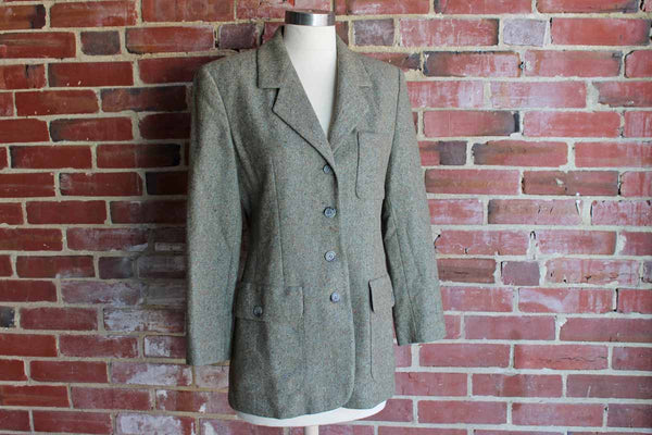 Burberry (England) Green Wool and Cashmere Woman's Blazer, Size 2