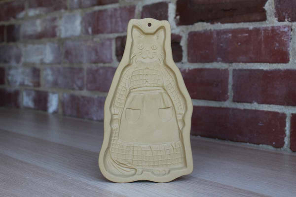 Brown Bag Cookie Art (New Hampshire, USA) 1988 Stoneware Cookie Mold of a Cat Wearing a Prairie Dress